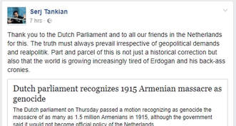 Serj Tankian thanks Dutch parliament